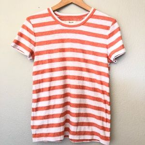 Madewell Striped Orange White Tee Top T-Shirt M